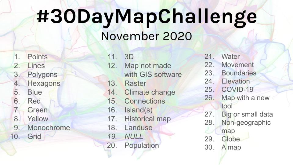 Themes for the November 2020 #30DayMapChallenge